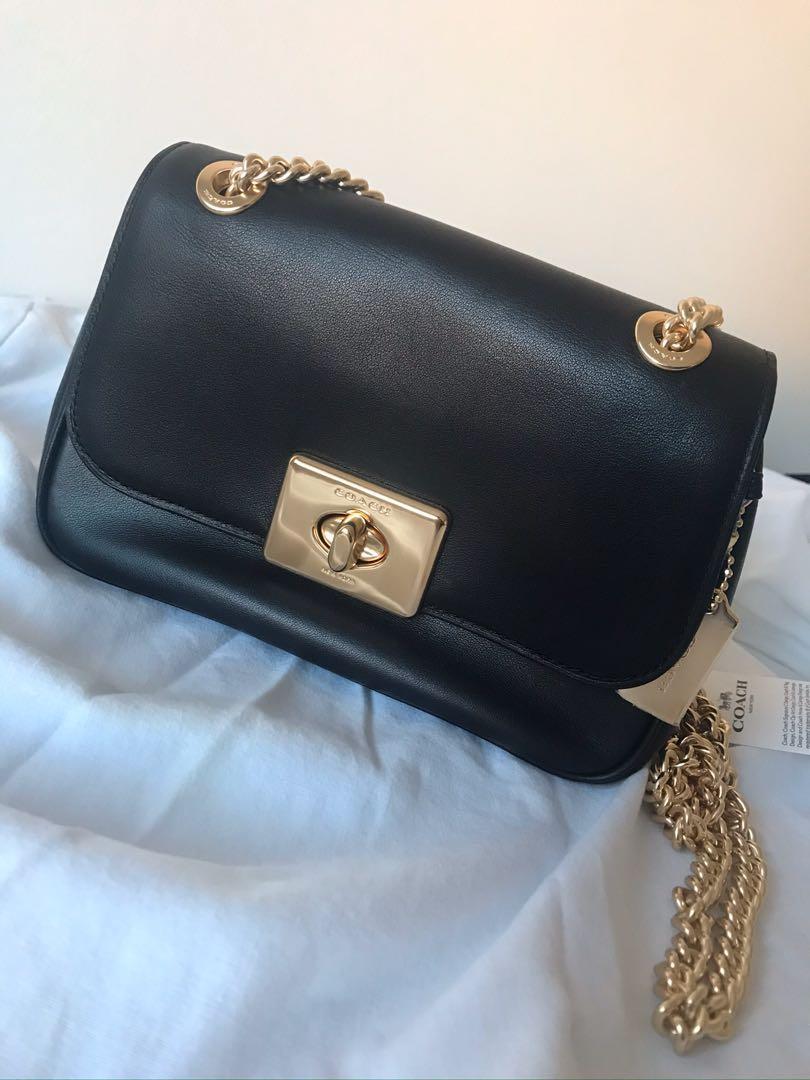 Black gold chain COACH bag