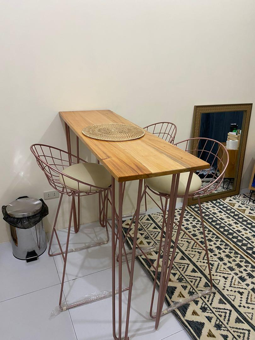 Dining Set High Table Chair Home Furniture Furniture Fixtures Tables Chairs On Carousell