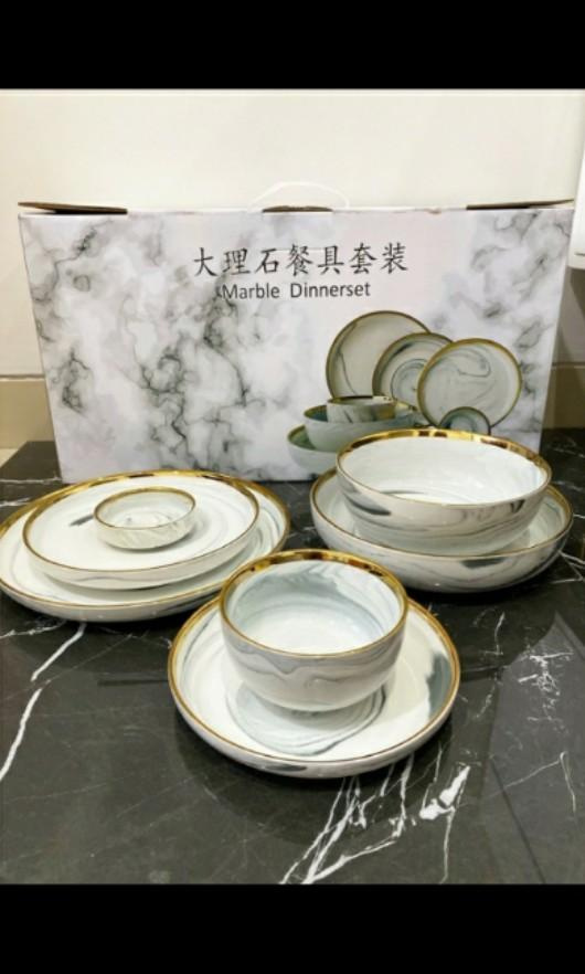 Dinner Set Marble Grey With Gift Box 7 Isi Pcs