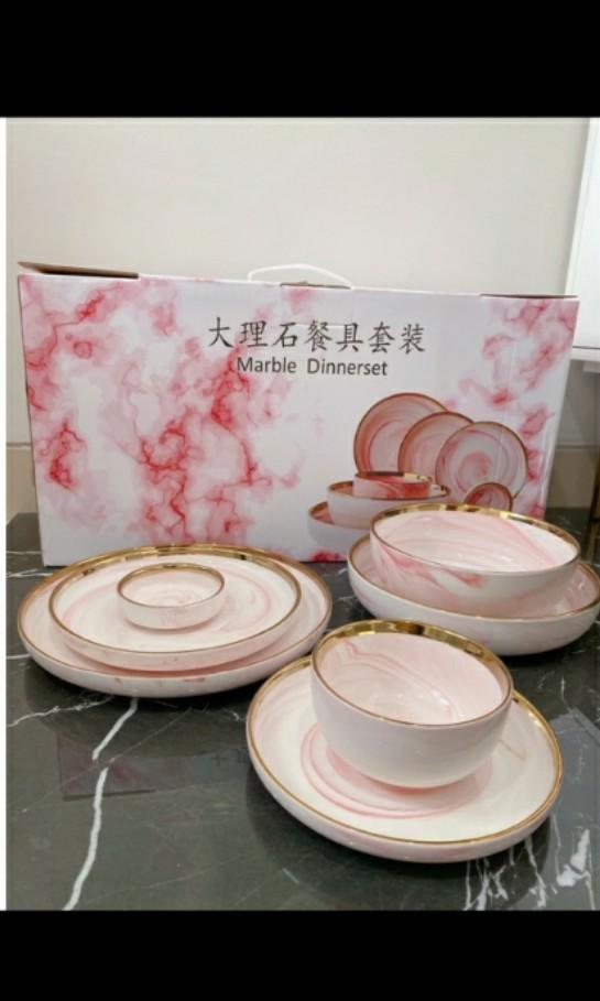 Dinner Set Marble Pink With Gift Box Isi 7 Pcs