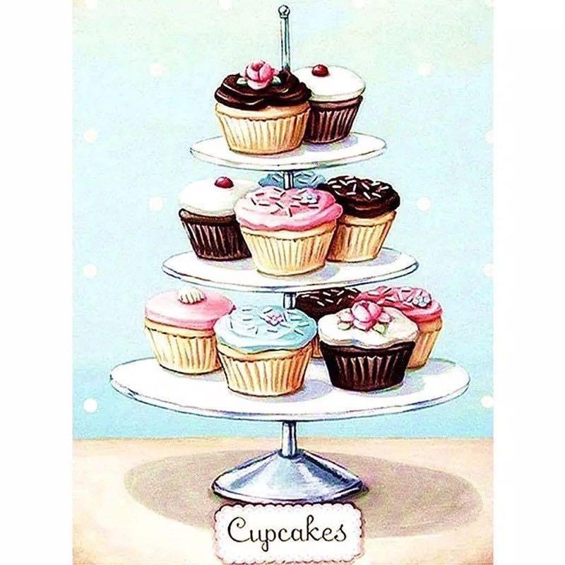 DIY diamond painting hiasan dinding cupcakes tray