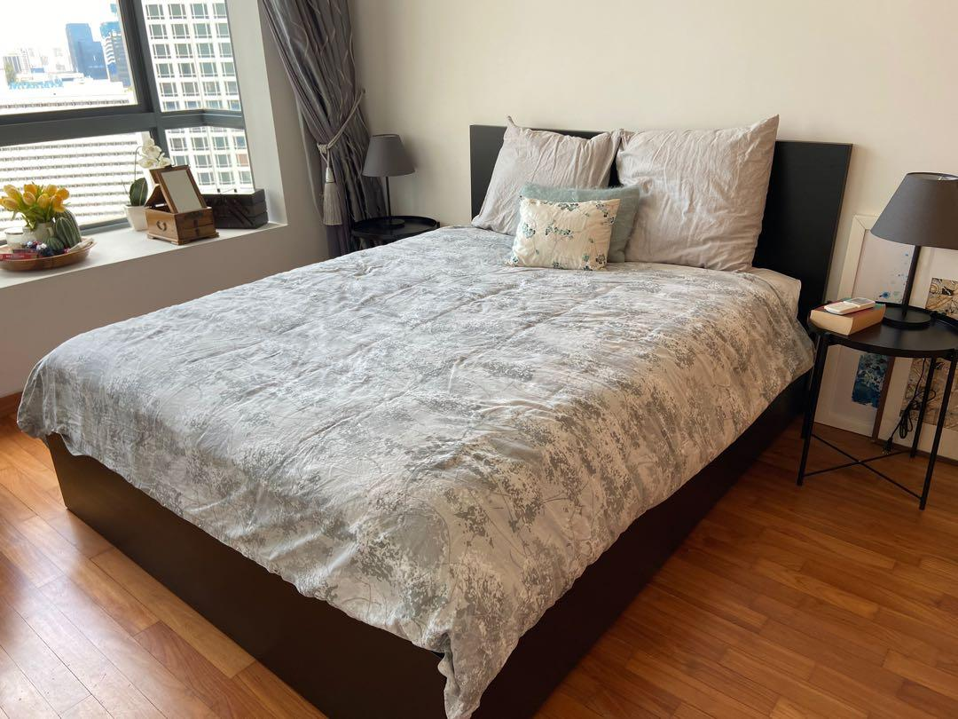 Ikea Malm Bed Queen 4 Under Bed Drawers And Spring Mattress Furniture Beds Mattresses On Carousell
