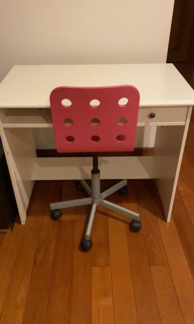 Ikea White Desk And Pink Office Chair Furniture Tables Chairs On Carousell