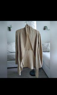 Knit tan cardigan - high-low style