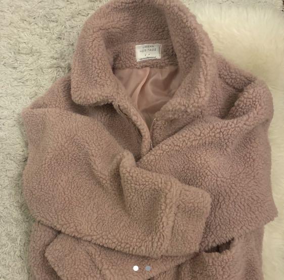 Light pink teddy coat size S