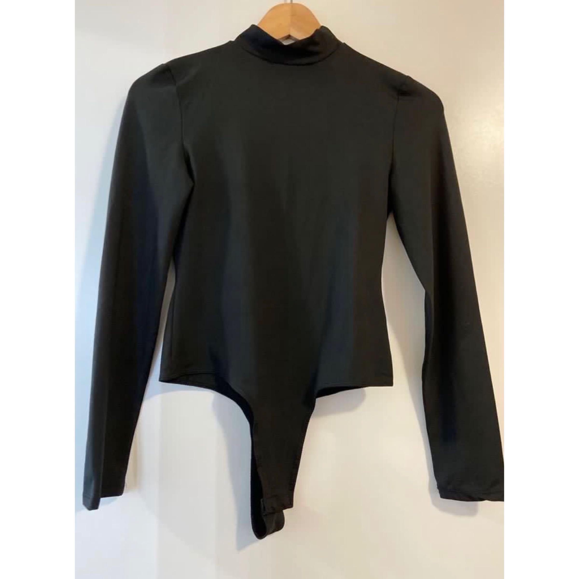 mendocino black mockneck bodysuit