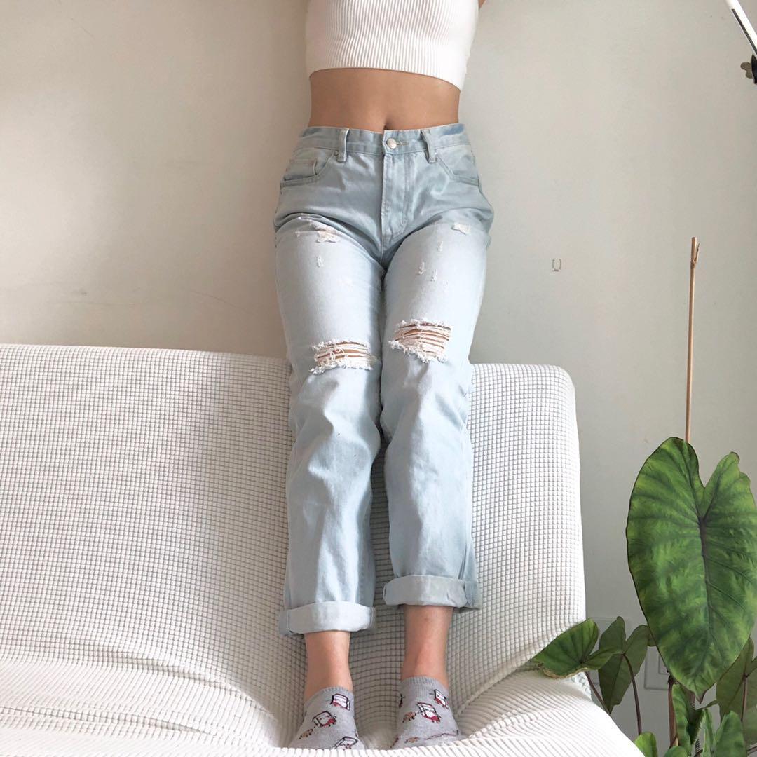 New distressed denim mom jeans