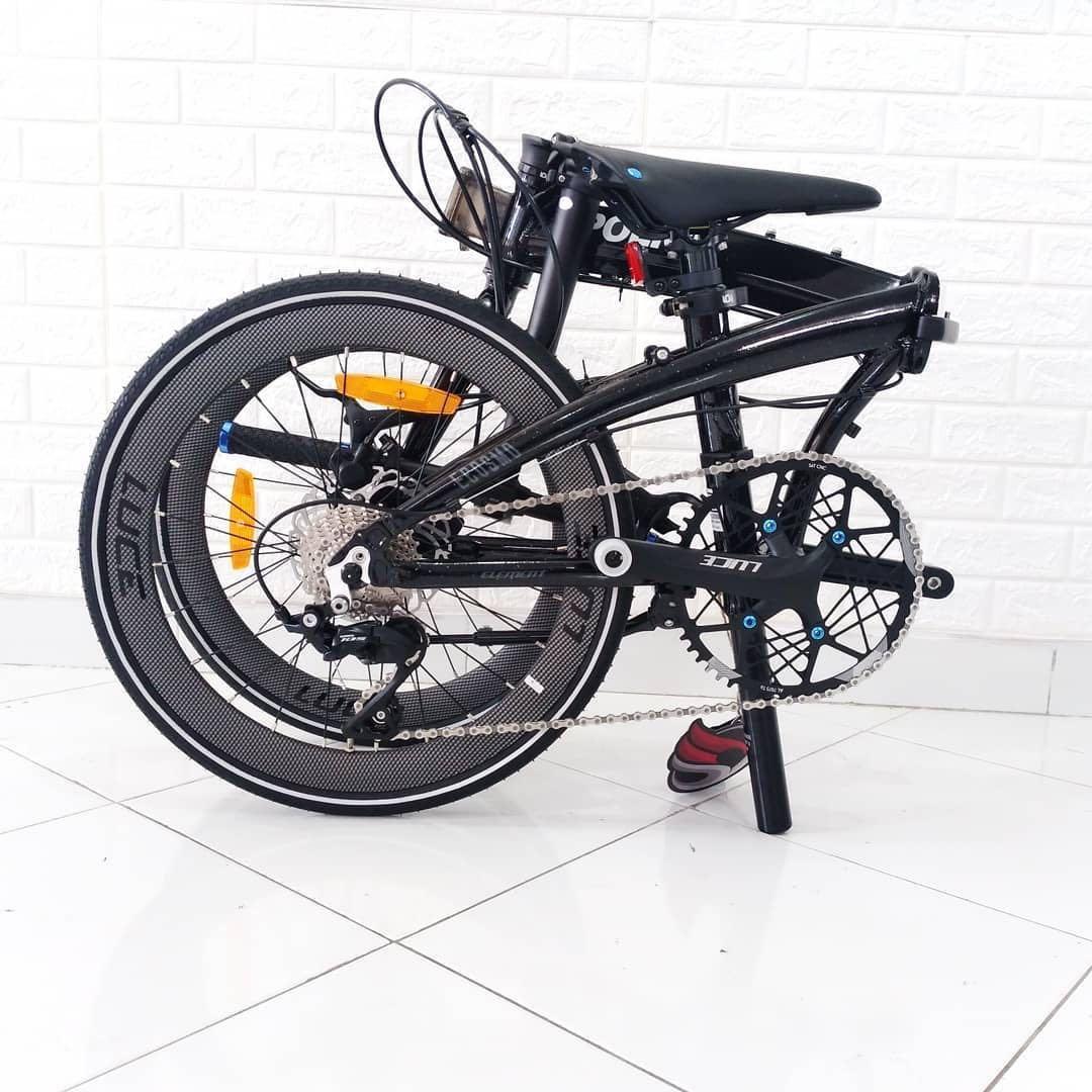 New Sepeda Lipat Element Ecosmo 11 Speed Black Police Glow In the Dark