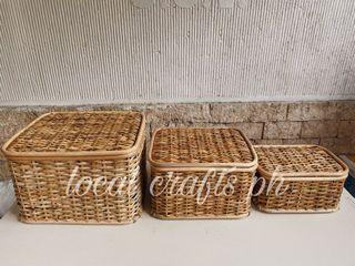 Set of 3 Rattan Organizer with cover