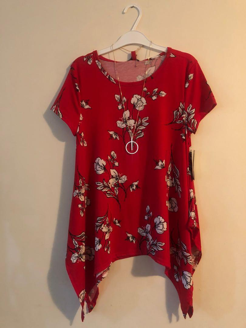 Red Floral Top with Necklace