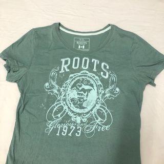 Roots抹茶綠短袖上衣
