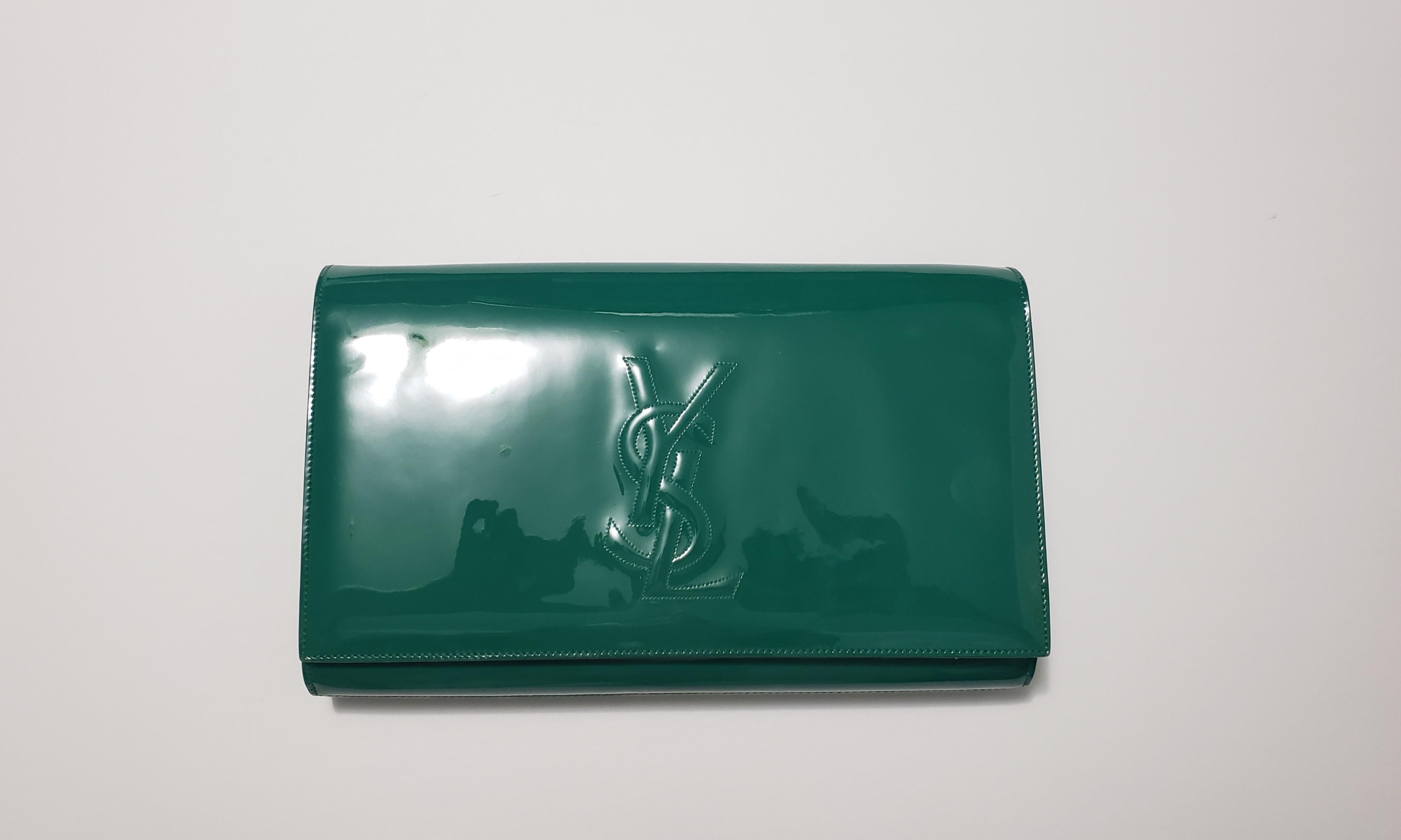 Authentic Saint laurent green patent Belle de jour clutch ( YSL)