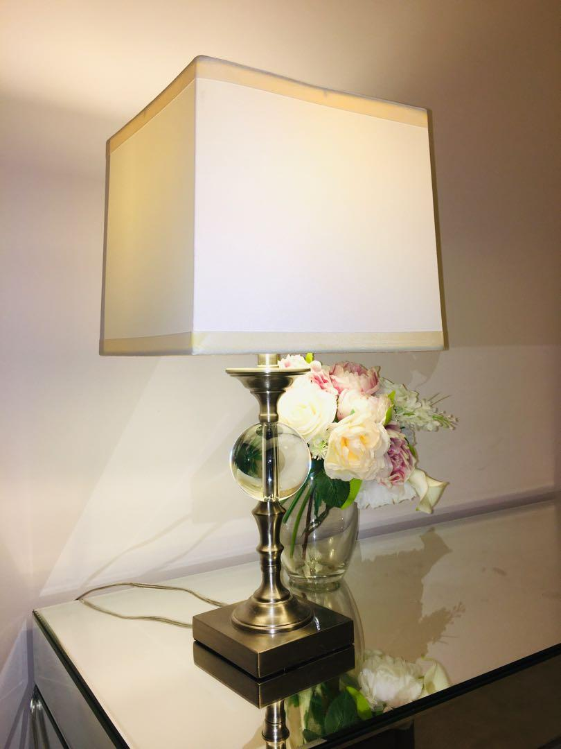 Table Lamp with White Linen Shade