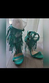 Turquoise triple tier fringe heels