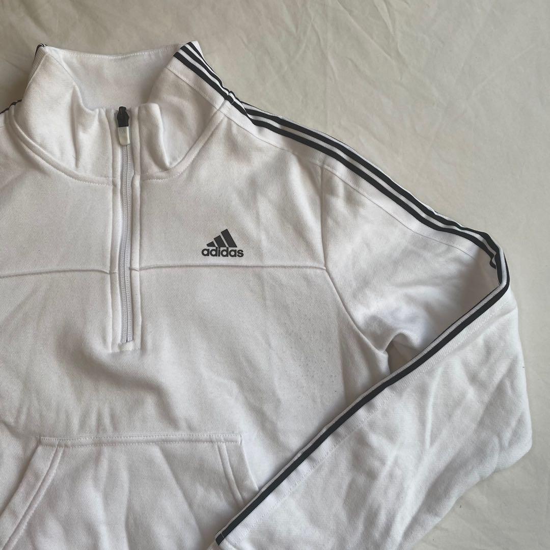 White adidas quarter zip sweatshirt