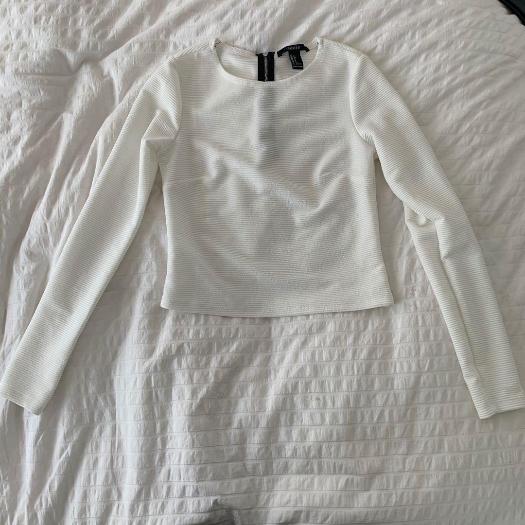 White blouse with exposed zipper