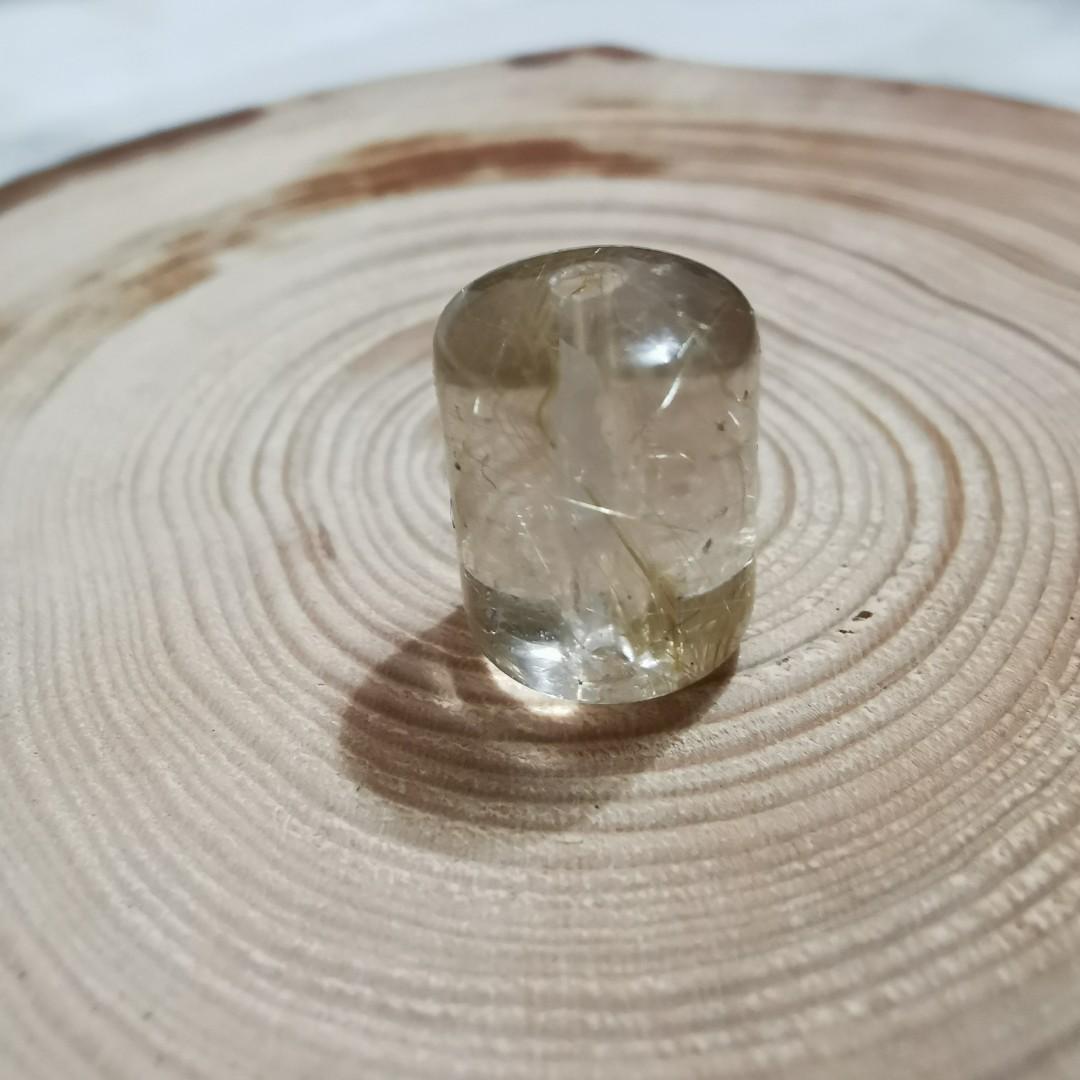 純天然招財金髮晶桶珠柱珠金髮水晶寶石散珠4.1mm串珠diy手作diy