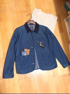 (Sold out售出🔥)90%new/pureego燈芯絨領深藍領丹寧工作夾/work jacket