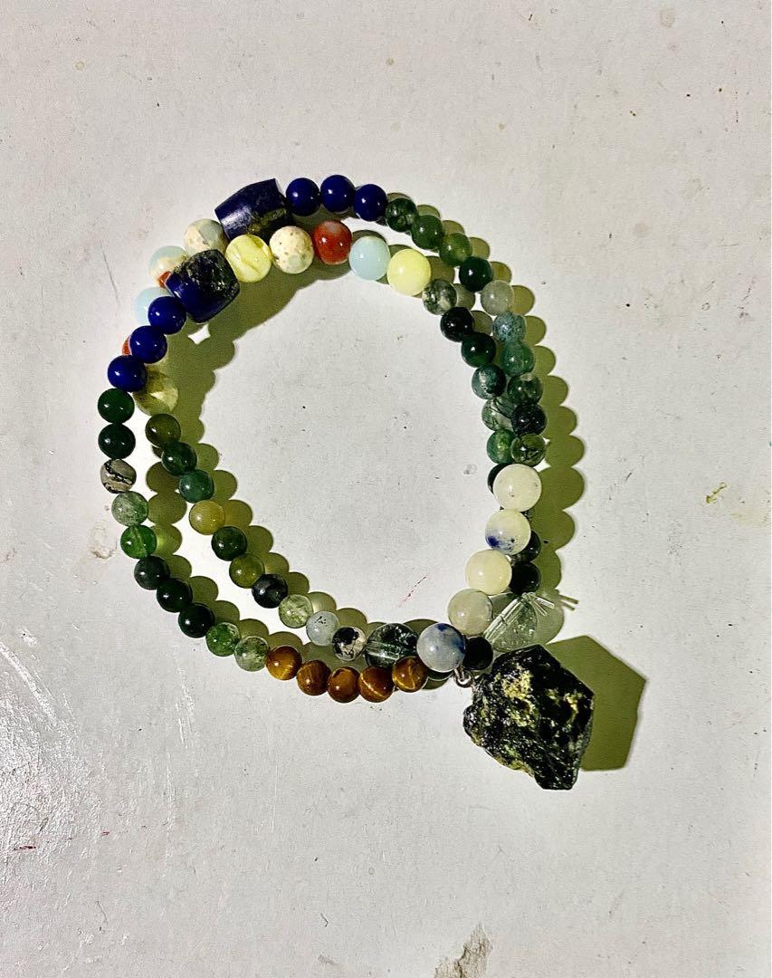 巴西綠碧璽原礦水晶頸鏈/手珠