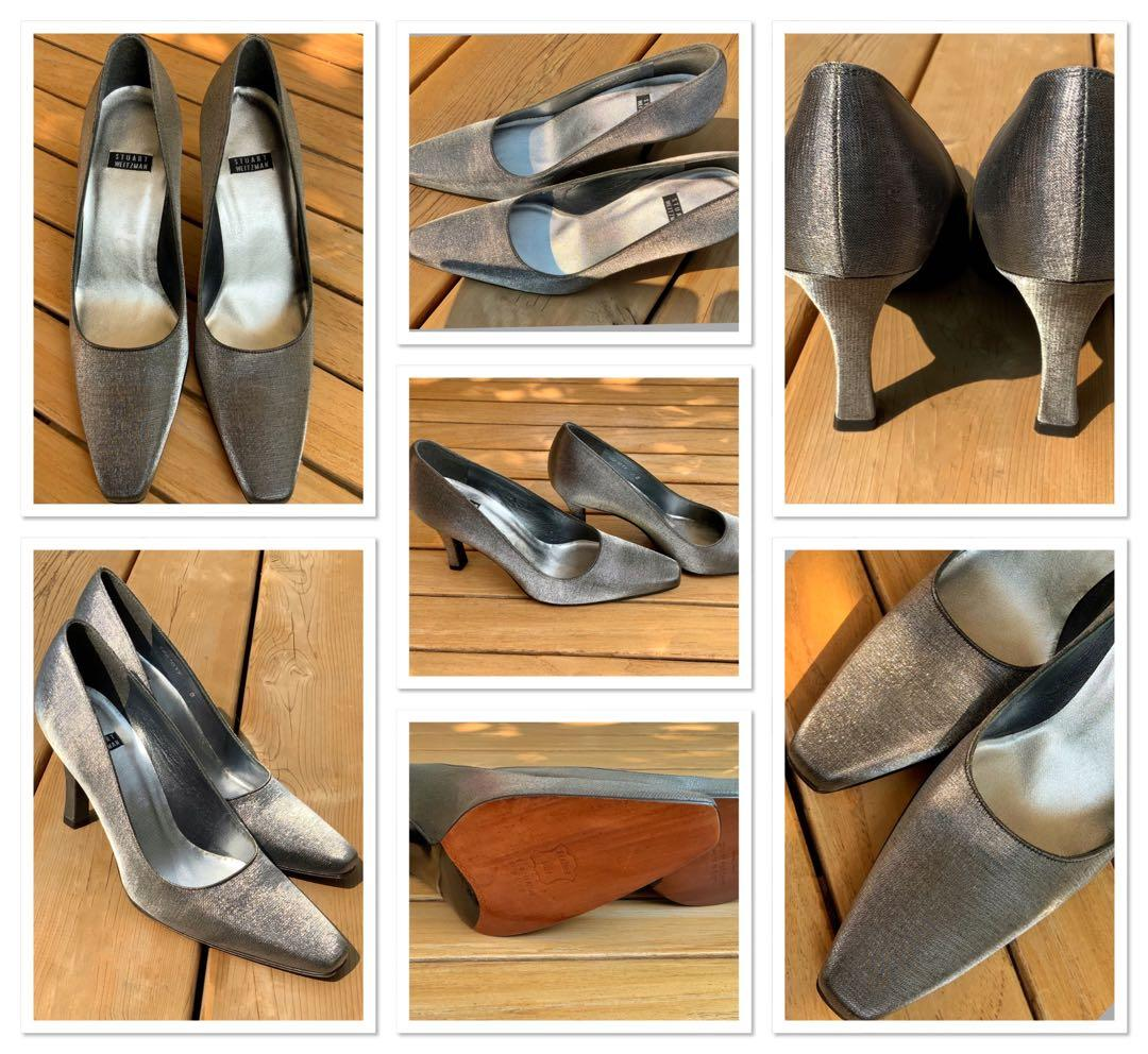 ⭐️ABSOLUTELY BRAND NEW ,NEVER WORN Stuart Weitzman size 7 silver/grey silk classic shoes⭐️