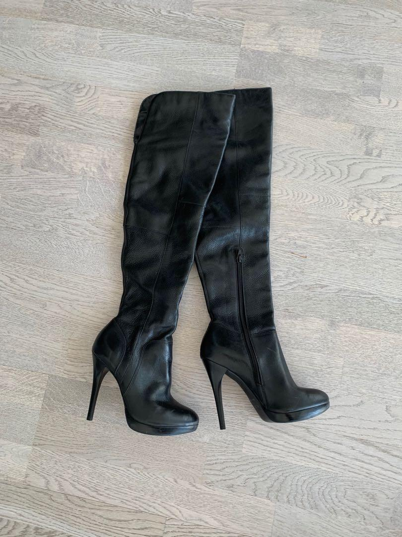 Aldo 100% Real Leather Thigh High / Over the Knee Boot Size 37 (Fits Size 6 or 6.5)