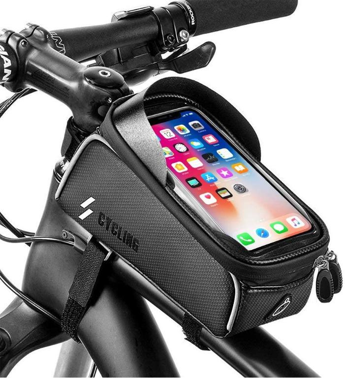 Bike Front Frame Bag Mountain Bicycle Front Tube Handlebar Bag Waterproof Top Tube Storage Bag Cycling Touch Screen Sun Visor Phone Mount Pack For Iphone 7 8 Plus X Xs Bicycles