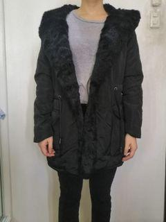 Black furry wrap coat