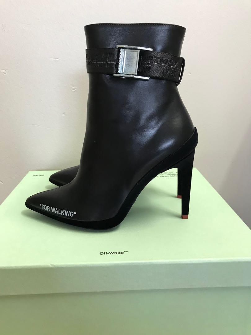 Brand New Off-White Women Black Ankle Boots Size 6