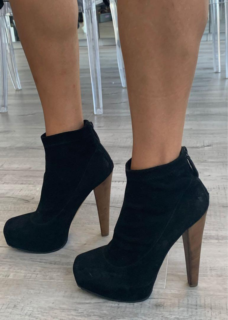 Brian Atwood black suede high heeled booties — NEW!