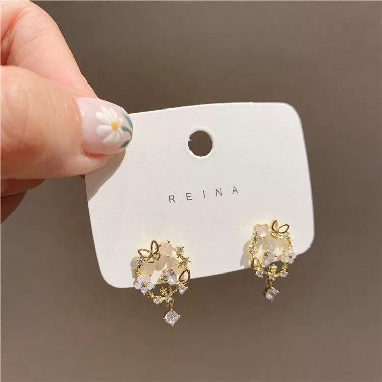 Butterfly garden stud earrings