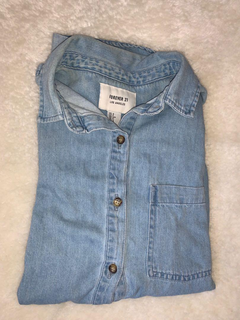 forever 21 denim overshirt size s