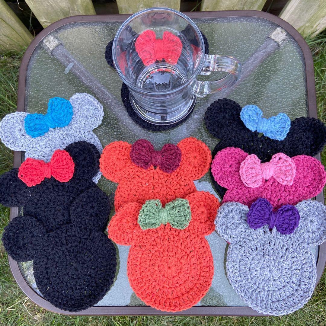 Handmade Crocheted Mickey & Minnie inspired coasters