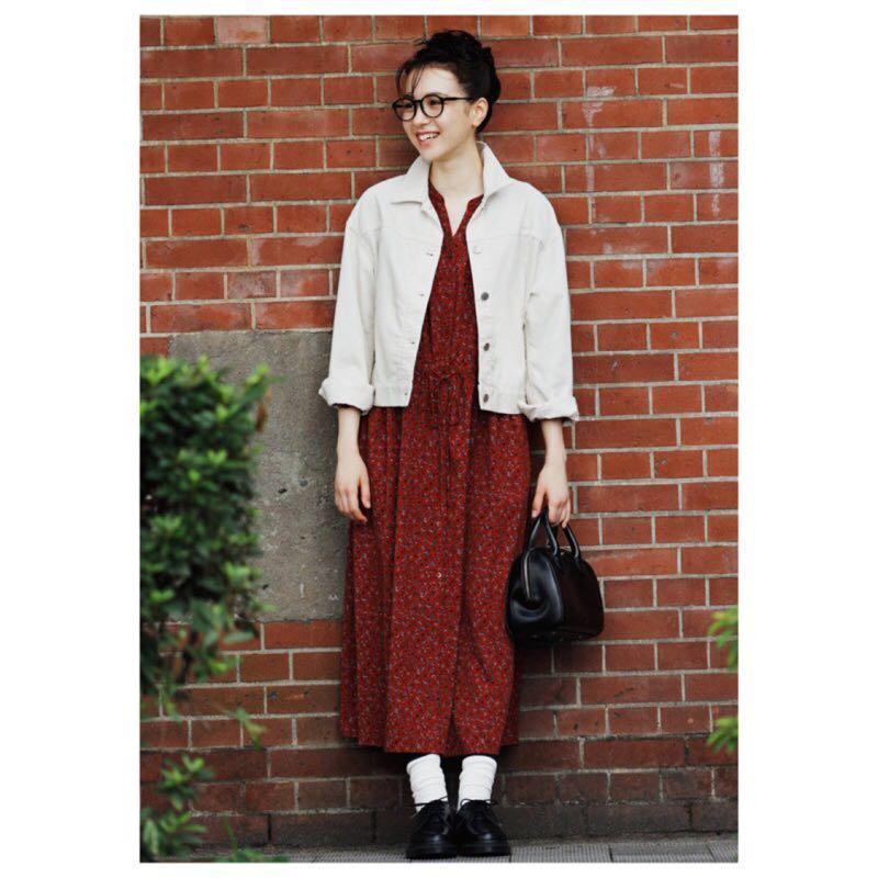J'aime Store ✵ UNIQLO - 日系 碎花 抓皺 顯瘦 長袖洋裝 罩衫