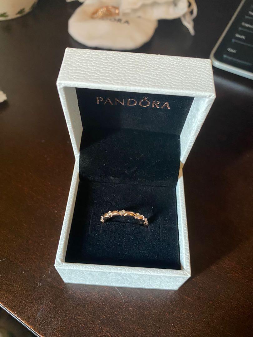 New Pandora Rose Gold Flower Petals Band Ring Size 52(6)