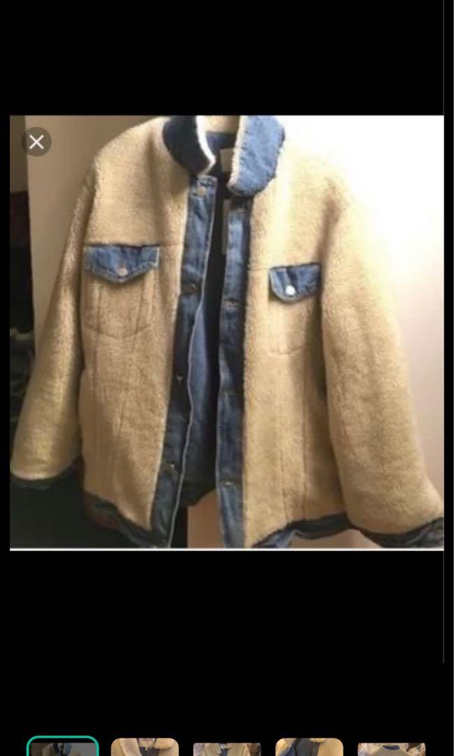 Oak and fort faux shearling denim coat