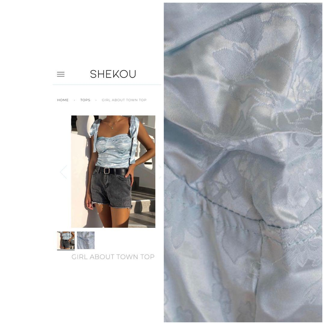 Shekou silk top, never worn with tags still on, Size L but small fit