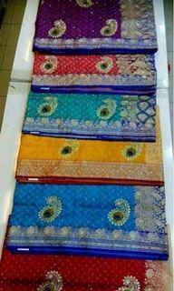 Silky computer embroidery saree