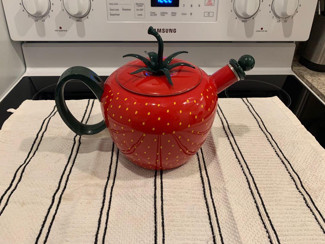 Vintage Strawberry Shaped Enamel Metal Teapot Whistling Tea Kettle Pot