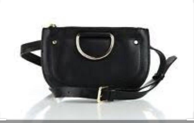 ZARA BLACK AND GOLD FANNY PACK