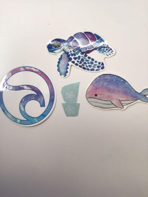 3 galaxy themed stickers plus 2 extra very small  stickers