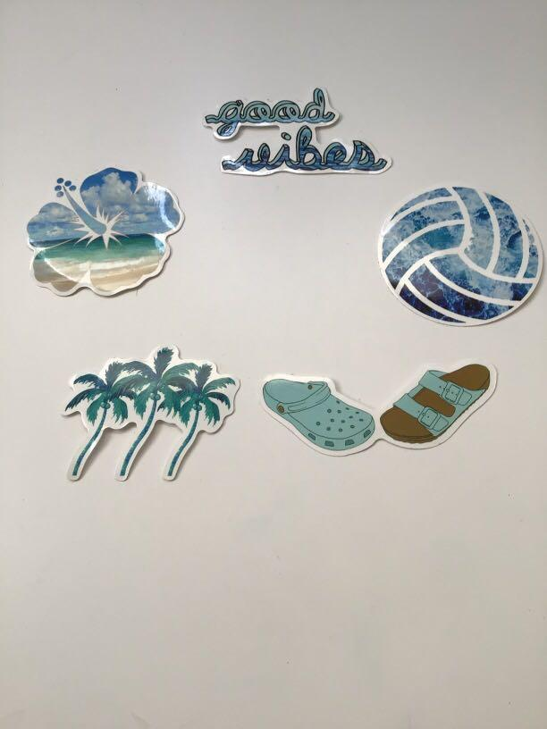 5 beach themed stickers + extra(surprise)