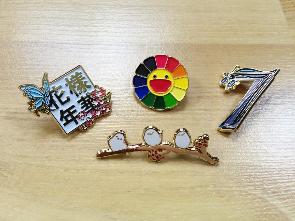 방탄소년단 BTS Gold Enamel Pin Badge: The Most Beautiful Moment in Life | Baepsae | Rainbow Sunflower | Black Swan