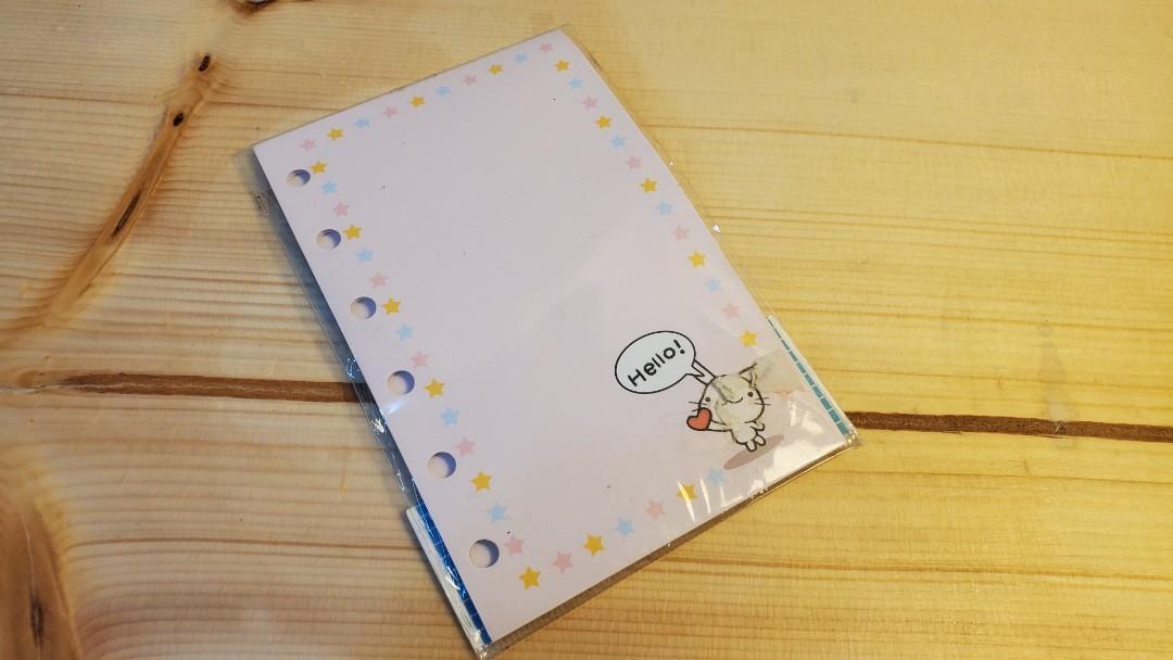 【免費 Free】5孔 便條紙 筆記本 雙面不圖案 貓咪 兔子