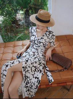 Candy W❤️實拍❤️ 黑白碎花V領顯瘦一片裙綁帶式洋裝