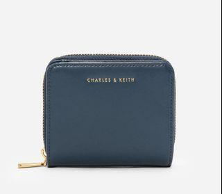 charles&keith 短夾  99成新 小CK 方型夾 海洋藍