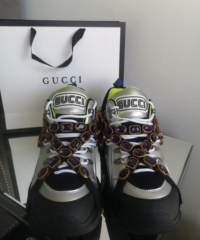 *GUCCI FLASHTREK SNEAKER WITH REMOVABLE CRYSTALS IN METALLIC*