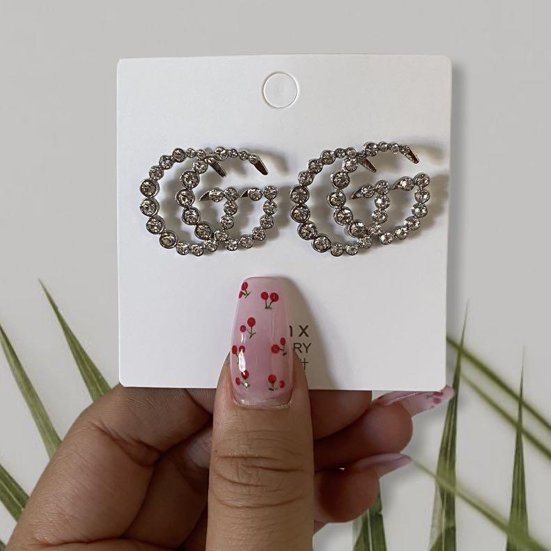 Gucci Silver Rhinestone Earrings GG