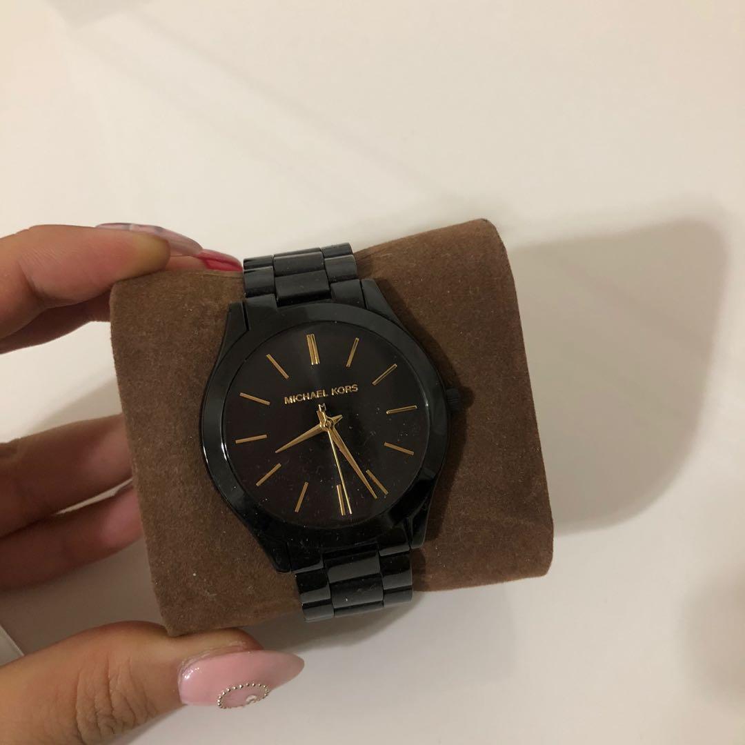 Michael Kors Oversized Slim Runway Black-Tone Aluminum Watch