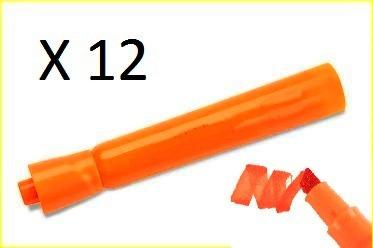 Pack of 12 Orange Water-based Chisel Tip Markers
