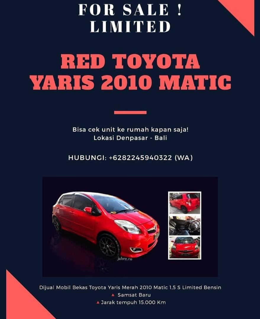 Red Toyota Yaris 2010 For Sale Bali